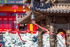 Censer of Lingbao temple in Hunchun city of northern province Jilin of China. Popular place of tourists from the border regions of. HUNCHUN, JILIN, CHINA stock photography