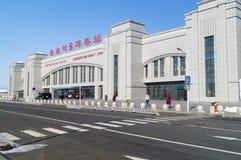 The railway station of high-speed train CRH. Hunchun, Jilin, China - 9 March 2018: The railway station of high-speed train CRH class D in Hunchun royalty free stock photo