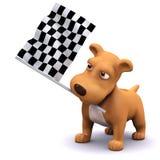 hund 3d på mållinjen Royaltyfria Bilder