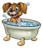 Hund in der Bad-Karikatur stock abbildung