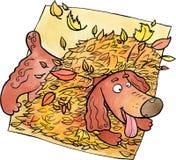 Hund, der in einem Haufen von Blättern spielt stock abbildung