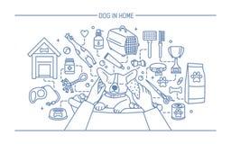 Hund in der Hauptkonturnfahne mit Haustierspielwaren, meds und Welpenmahlzeiten Horizontale Entwurfslinie Kunstvektorillustration lizenzfreie abbildung