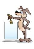 Hund, der unbelegte Fahne anhält Lizenzfreie Stockfotos
