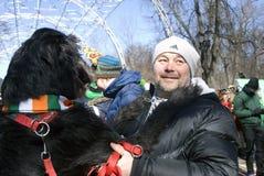 Hund des irischen Wolfshunds und sein Eigentümer an der St- Patrick` s Tagesfeier in Moskau Stockfotografie
