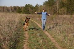 Hund des Mädchens und des Schäferhunds Stockfoto