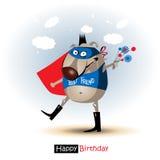 Hund för lycklig födelsedag med blommaleende stock illustrationer