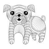 Hund för Zentangle handteckning för antistress färgläggningsidor, stolpe c vektor illustrationer