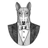 HUND für gezeichnete Illustration T-Shirt Design Hippies Tierhand für Tätowierung, Emblem, Ausweis, Logo, Flecken, T-Shirt Lizenzfreies Stockbild