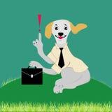 Hund gekleidet in der Karikaturgeschäftsart Stockbilder