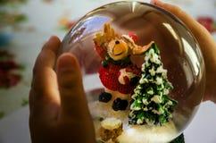 Hund i form av Santa Claus, julgran- och babys händer arkivbilder