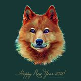 Hund kinesiskt zodiaksymbol av 2018 år som isoleras på bakgrund Asiatiskt mån- år År av den gula jordhunden som är lyckligt Arkivbild