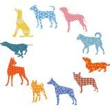 Hund kort för ` s för nytt år, stock illustrationer