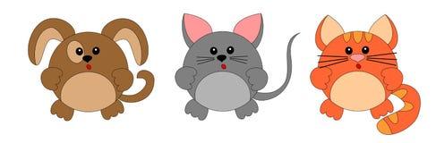 Hund, Maus und Katze karikatur stockfotos