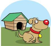 Hund med ett hundhus vektor illustrationer