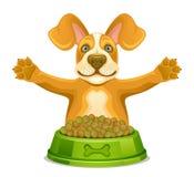 Hund med matning royaltyfri illustrationer