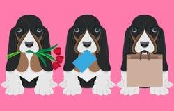 Hund mit Blumentulpen, -umschlag und -Papiertüte Papierkunst stock abbildung