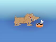 Hund mit dem Knochen in der Schüssel. vektor abbildung