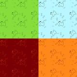 Hund mit dem Knochen nahtlos gefärbt Stockfotografie