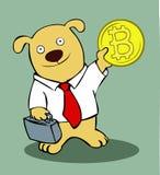 Hund mit einem bitcoin Lizenzfreie Stockfotos