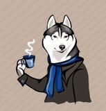 Hund mit einer Tasse Tee stock abbildung