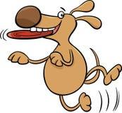 Hund mit Frisbeekarikaturillustration Stockbild