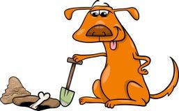 Hund mit Knochenkarikaturillustration Stockfotografie