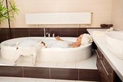 Hund neben der Frau im Badezimmer Lizenzfreie Stockbilder