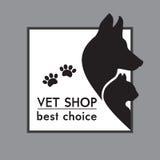 Hund och Cat Silhouettes. stock illustrationer