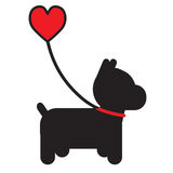 Hund och hjärta Arkivfoto