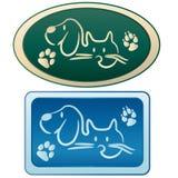 Hund och katt - ansa logo stock illustrationer