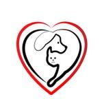 Hund- och kattförälskelselogo vektor illustrationer