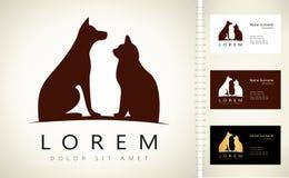 Hund- och kattlogo royaltyfri illustrationer