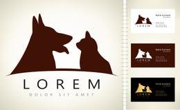 Hund- och kattlogo stock illustrationer