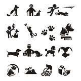 Hund- och kattsymbolsuppsättning Royaltyfria Bilder