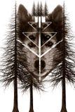 Hund- och trädmontage royaltyfri illustrationer