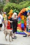 Hund och transvestit i regnbågeklänningbögen Pride Parade Arkivbilder