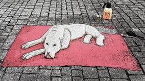 Hund p? mattan royaltyfri illustrationer