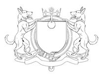 Hund pets heraldisches Schildwappen Lizenzfreies Stockbild