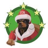 Hund-Rottweiler-guten Rutsch ins Neue Jahr 2018 Stockfotos