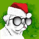 Hund in Santa Claus-Hut lässt neues Jahr ` s Hintergrund laufen Auch im corel abgehobenen Betrag Stockbild