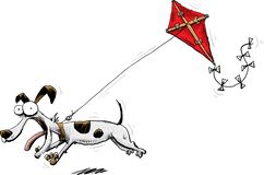 Hund som drar en röd drake royaltyfri bild