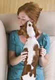hund som slickar kvinnan royaltyfria bilder