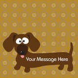 Hund u. Hintergrund des Dachshund (Hotdog) Lizenzfreie Stockfotografie