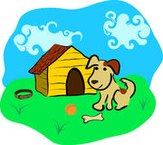 Hund und Hundehütte Lizenzfreies Stockfoto
