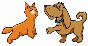 Hund und Katze Vektor Abbildung