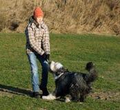 Hund und Mädchen, die über einem Steuerknüppel kämpfen lizenzfreies stockbild