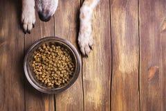 Hund und Schüssel von trockenem schroten Lebensmittel Lizenzfreie Stockbilder