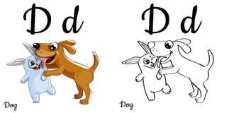 Hund Vektoralphabetbuchstabe D, Färbungsseite Stockfotos