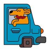 Hund vom Autofenster Haustier, zum in Auto zu reiten Das Reisen ist ein Tier lizenzfreie abbildung