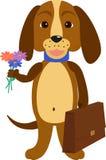 Hund zurück zu Schule Illustration eines Karikaturwelpen Lizenzfreie Stockfotografie